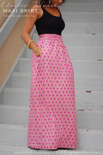 Elastic waist maxi dress with pockets