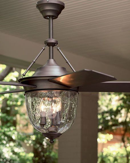 "Ceiling fan designed to withstand conditions in covered outdoor areas. Made of metal and plastic with a dark aged bronze finish and glass globe. 52""Dia. blade sweep. 26.5""T. Imported. Boxed weight, ap"