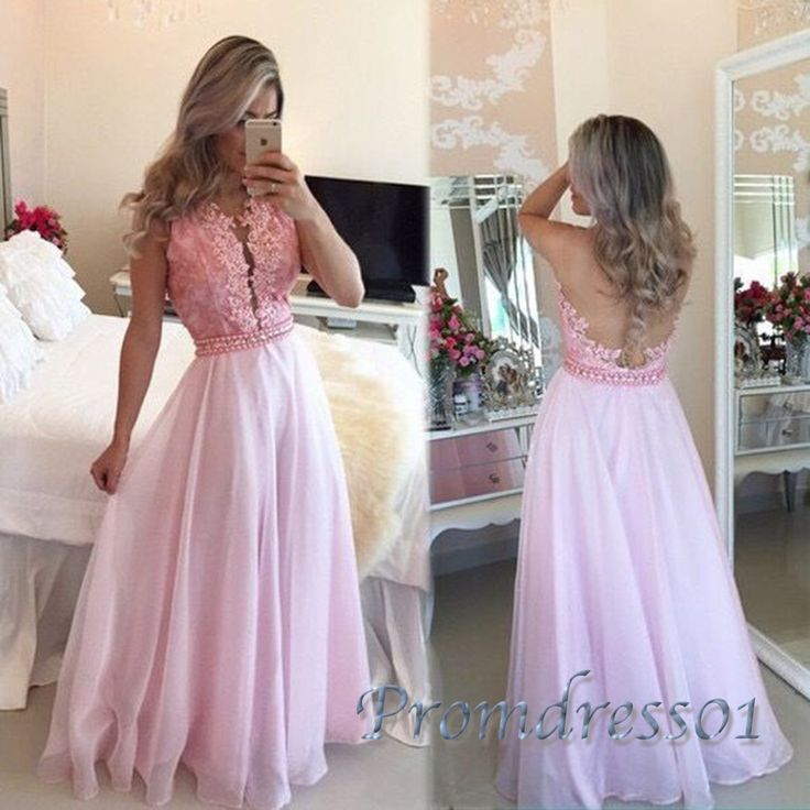Backless pink chiffon long prom dress with beautiful lace top, ball gown, modest prom dress 2016 #coniefox #2016prom