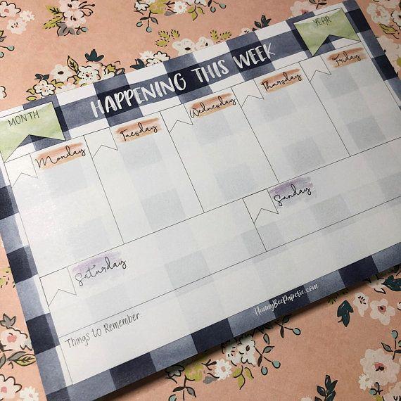 Weekly Planner Notepad Desk Pad Meal Planner Family Etsy Weekly Planner Notepad Planner Notepad Weekly Planner