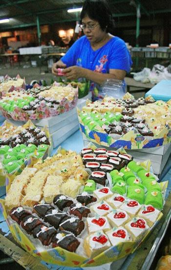 Sweet snacks at Pasar Senen market, Jakarta, Indonesia.