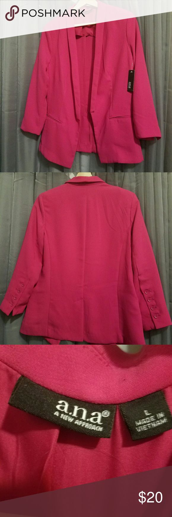 Hot pink tuxedo style blazer NWT New with tags. Super sexy hot pink. I love but doesn't fit me. One of those maybe I will loose weight things. Haha. Xo a.n.a Jackets & Coats Blazers