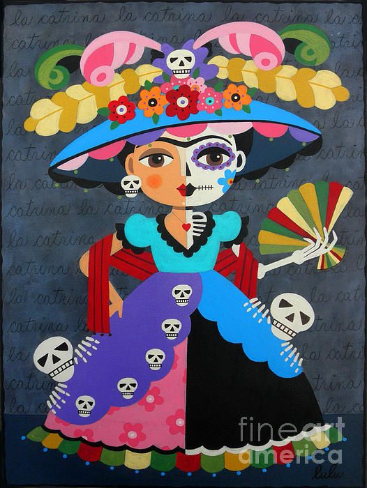 """Frida Kahlo La Catrina Dia de Muertos - Day of the Dead Now available in sizes as BIG as 36"""" x 48"""" !"""
