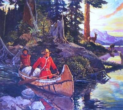 RCMP Canadian Mountie Canoe Deer Sunrise