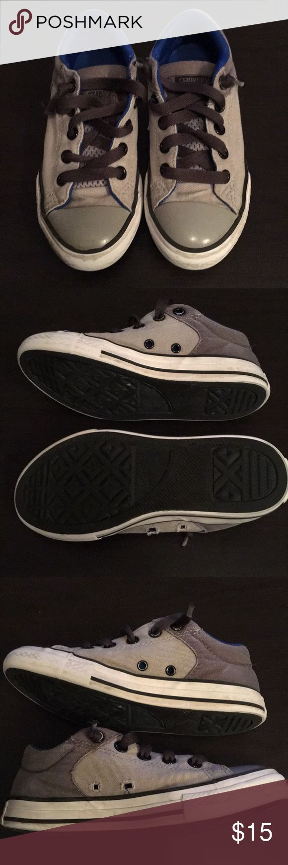 Kids Converse All ⭐️ Star Two tone gray with blue inner lining. Gently worn a few times. Left shoe is lacking the inner black rings? Not sure how or when that happened, but there's no damage otherwise. Tongue has elastic & is attached to avoid sliding forward. Laces are in good condition aside from the tips. Could be easily replaced. Priced per condition, bundle for a discount or make me an offer.😉 Clean and smoke free home! Converse Shoes Sneakers