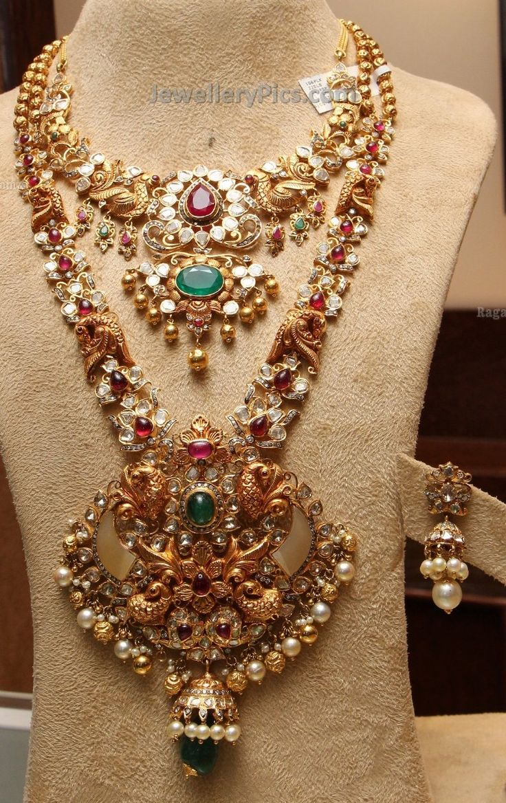 Latest gold necklace designs in grams pachi necklace latest jewellery - Peacock Design Pachi Diamond Bridal Sets Latest Jewellery Designs