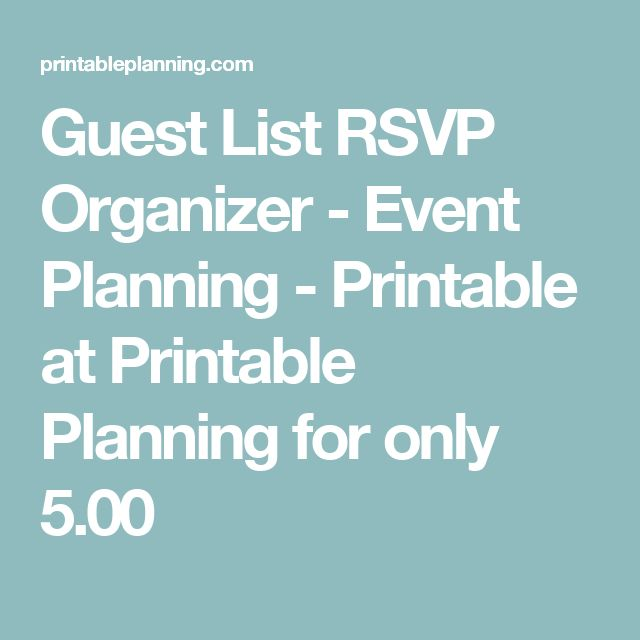 Guest List RSVP Organizer - Event Planning - Printable at Printable Planning for only 5.00