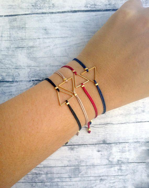 Triangle charm bracelet friendship bracelet macrame