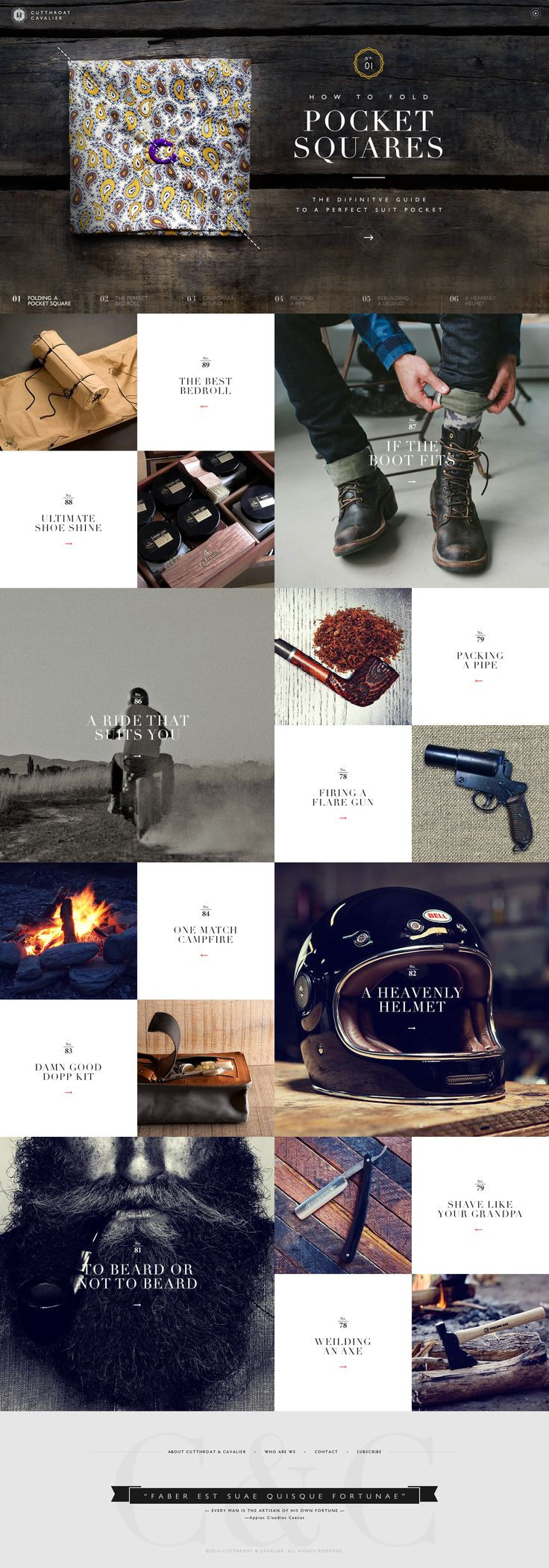 Cutthroatcavalier—nice use of grid for a website.. though the text may be too small and delicate.