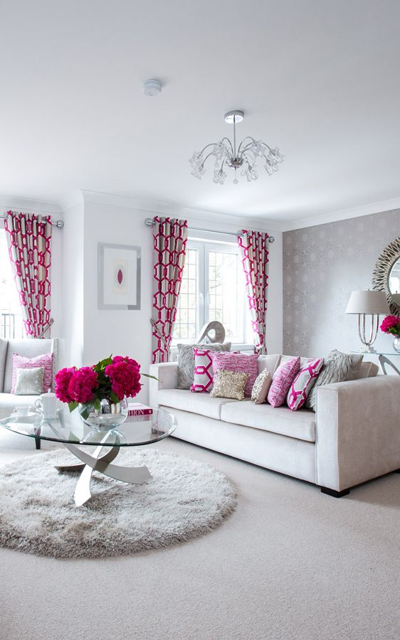 Modern, Flowing, Bright Living Room With Elegant Grey, Beige And Pink Decor  And Part 80