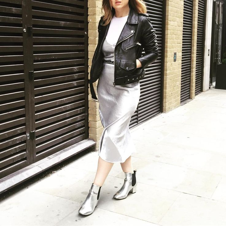 LFW day three - Silver metallic 90s inspired look with Topshop Kate Moss alip dress, Zara leather biker jacket, River Island silver boots and an ASOS duo belt combo.