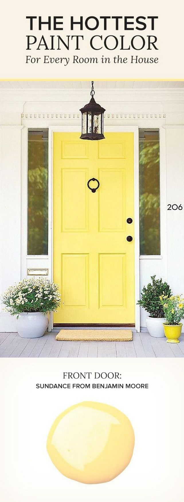 Sundance by Benjamin Moore. Yellow Paint Color. Front Door Paint Color. #BenjaminMooreSundance Via Pop Sugar.