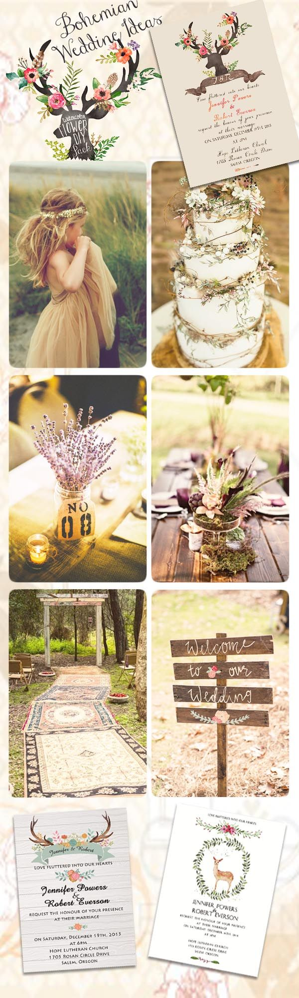 bohemian wedding ideas and rustic bohemian wedding invitation