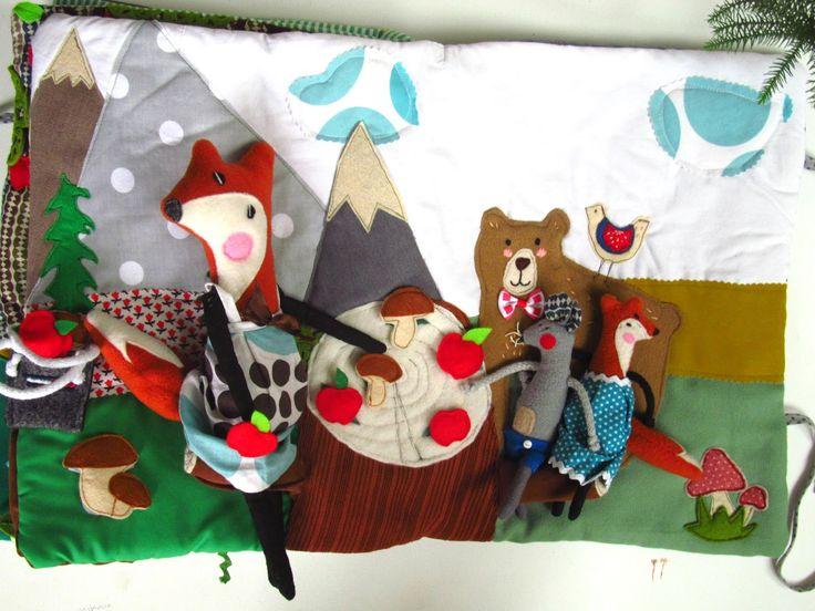 Children quiet book about little fox, and mum , design by agatownik