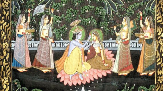 Very romantic...Krishna and Radha Pichvai/Pichwai Silk Painting by oldsilkroute, $200.00