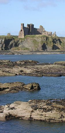 Tantallon Castle is a mid-14th-century fortress, located 5 kilometres east of North Berwick, in East Lothian, Scotland. It sits atop a promontory opposite the Bass Rock, looking out onto the Firth of Forth.