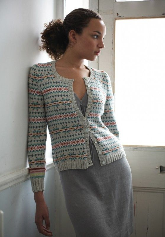 Fairisle cardigan, Debbie Bliss ..... shame the pic is not closer for the detail but this is really lovely