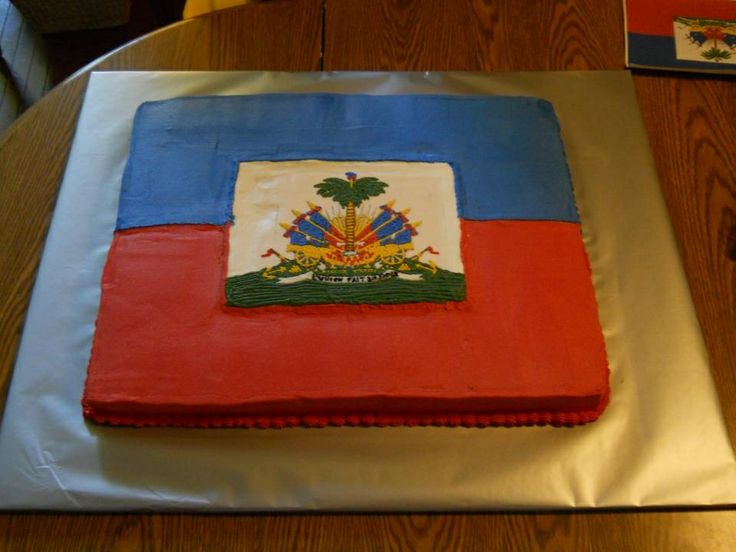 Haitian flag groom's cake - Haitian flag cake, all BC