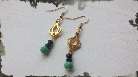 handmade earrings with gilded details &  colored by toocharmy