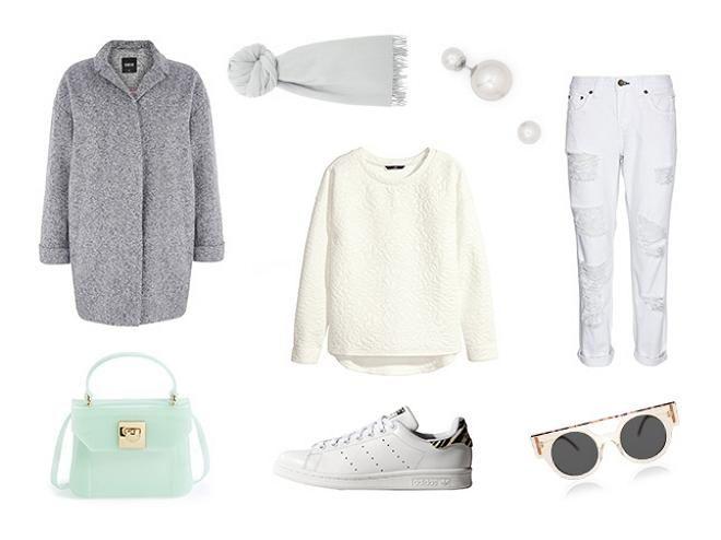 Wearing white for weekend Образ для поездки за город в первую очередь должен быть комфортным. Обязательно возьми с собой теплый шарф и шапку.