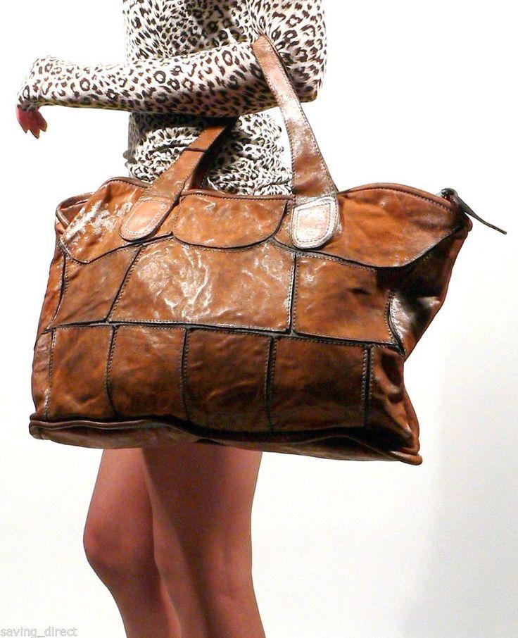 GIORGIO BRATO Distressed Vintage Brown Leather Handmade Tote Handbag - ITALY #GiorgioBrato #TotesShoppers