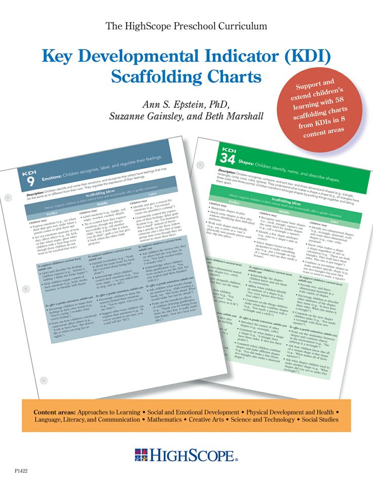The Key Developmental Indicator (KDI) Scaffolding Charts provide practical examples to help adults scaffold early learning as they implement the HighScope Preschool Curriculum. Scaffolding is the term HighScope uses to describe how adults support children at their current developmental level and gently extend their thinking and reasoning to the next level when the children are ready.