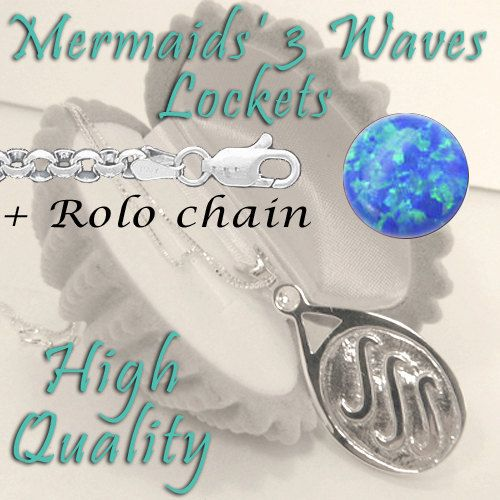 Blue Opal H20 Just Add Water EXACT Replica Locket Necklace like H2O Mermaids Sterling Silver 925 + rolo chain in sterling silver