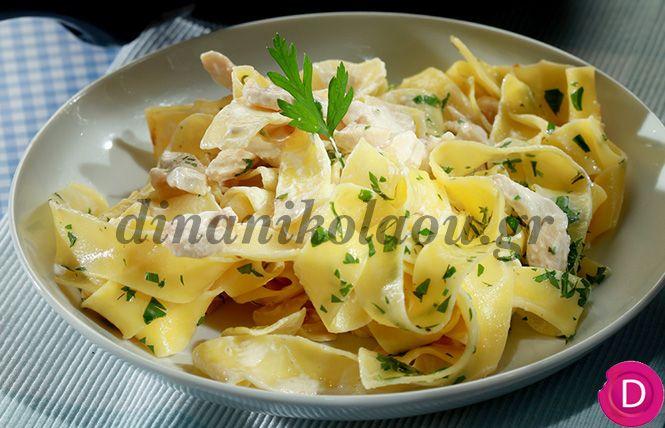 Παπαρδέλες με τυρί κρέμα και λωρίδες κοτόπουλου   Dina Nikolaou