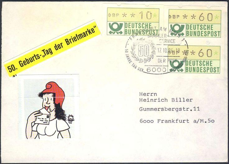 """Germany, ATM 17.10.1986, Bund, Automatenmarken, 60 Pfg. im Paar, auf portogerechtem Brief mit Sonderstempel """"50 Jahre Tag der Briefmarke"""". Price Estimate (8/2016): 15 EUR."""