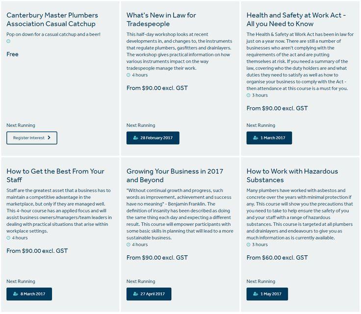 Course Catalogue - https://www.masterplumbers.org.nz/