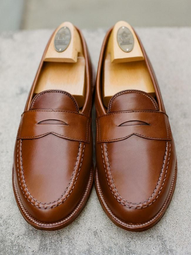 1c609fe8e398e Alden Burnished Tan Leisure Hand-sewn Penny Loafer in 2019 | Loafers ...