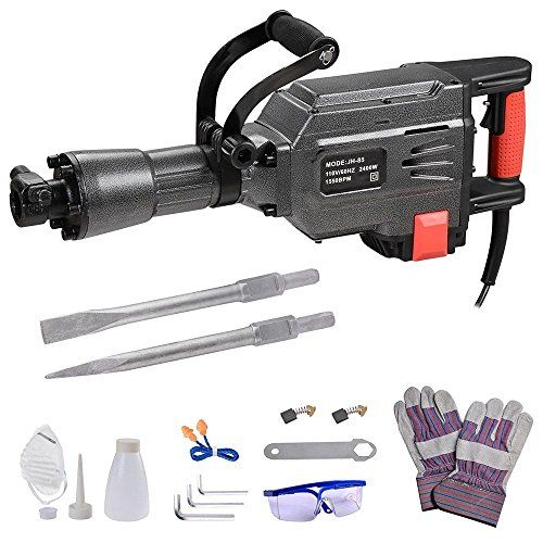 Yescom 2400W 1550BPM Electric Demolition Jack Hammer with Double Insulated Motor Casing 2 Chisels Case