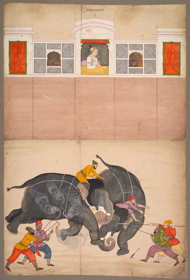 Two Elephants Fighting in a Courtyard Before Muhammad Shah