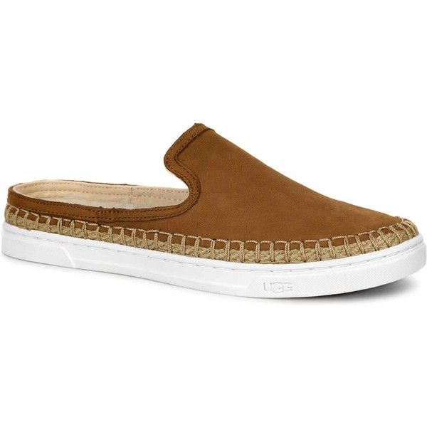 UGG Women's Caleel Chestnut Athletic Shoes & Sneakers ($85) ❤ liked on Polyvore featuring shoes, sneakers, brown, espadrille sneakers, backless shoes, real leather shoes, leather sneakers and brown sneakers