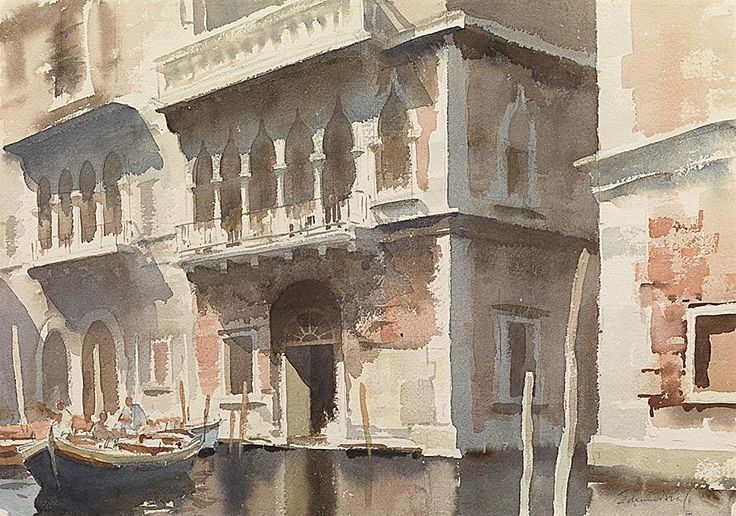 Edward Seago (1910 - 1974, UK)  watercolour.