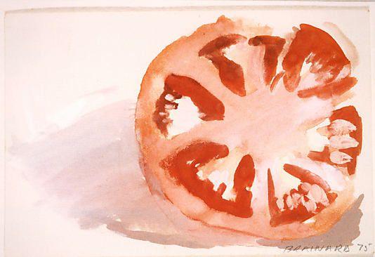 Tomato     Joe Brainard  (American, Salem, Arkansas 1942–1994 New York City)   Date: 1975 Medium: Gouache and watercolor on paper Dimensions: H. 4, W. 6 inches (10.2 x 15.2 cm.)