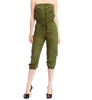 Strapless Romper by #BEBE 2 colors $39.95 .    A #cargo inspired #romper with a #sexy #strapless fit, elastic waist and banded cropped legs that look amazing with a metallic platform.  #fashion #women #meinstyle