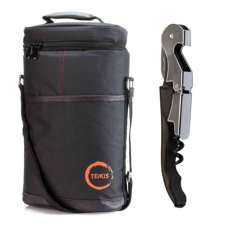 WINE TRAVEL BAG - For 2 Bottles Perfect Accessory - Insulated Carrier, Corkscrew