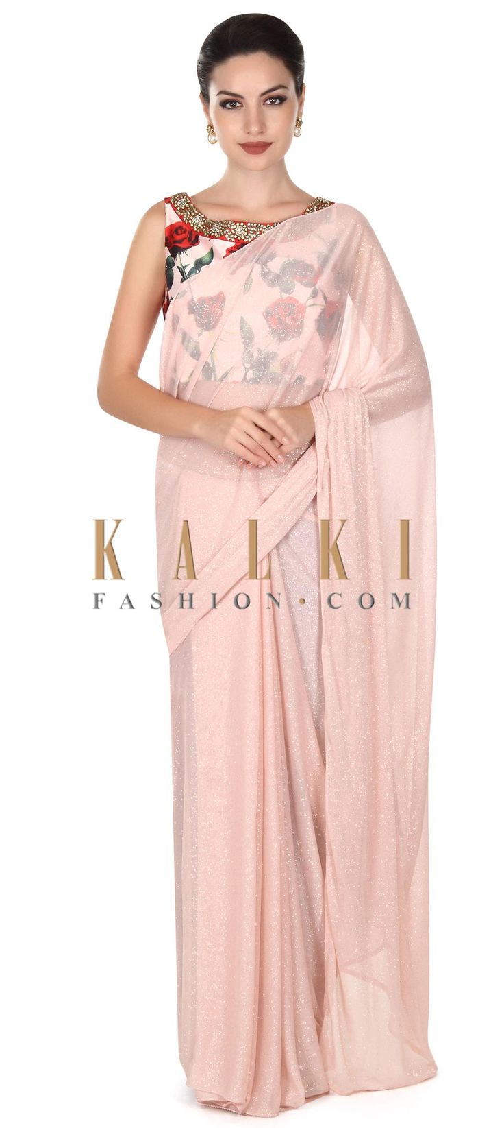 Buy this Pink shimmer saree with floral printed blouse only on Kalki
