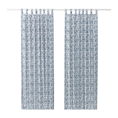 IKEA - MJÖLKÖRT, Curtains, 1 pair, , The curtains lower the general light level and provide privacy by preventing people outside from seeing directly into the room.The tab heading allows you to hang the curtains directly on a curtain rod.