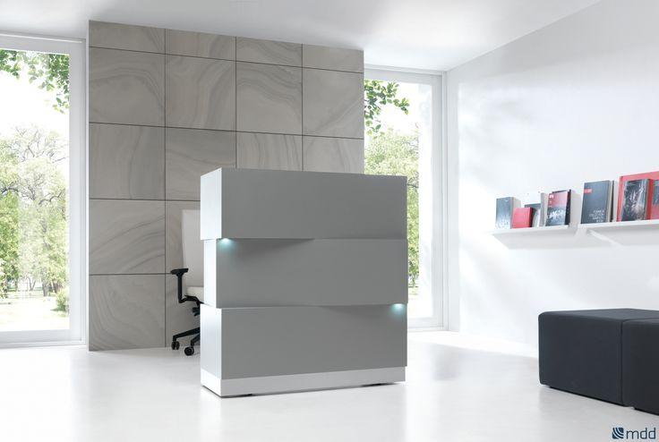 ZEN - стойка приёмной неправильной формы, составленная из трёх прямоугольных элементов. Модули с LED-освещением добавляют легкости и позволяют работать в помещениях с ограниченным доступом солнечного света. Цоколь из алюминия отлично сочетается с белым цветом корпуса.