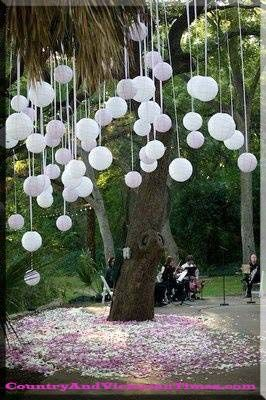 Place an electric teacup candle in a balloon to weigh it down and create balloon lanterns