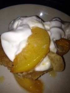 Low fat peach cobbler.  I made this tonight and it was wonderful.  I put in more peaches than called for though as it wasn't quite enough.  I used white whole wheat flour and it turned out great.