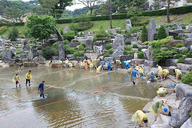 [摂理ニュース]月明洞、池の大掃除で修練会の準備スタート!!