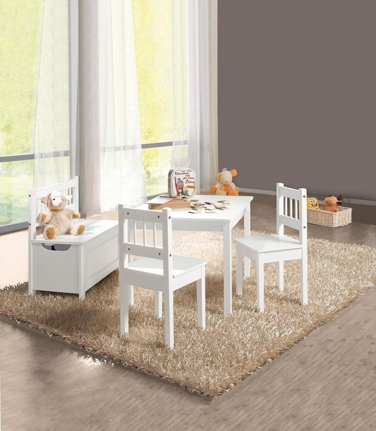 Kindersitzgruppe mit Tisch, Sitzbank und 2 Stühlen: weiß und kindgerecht!