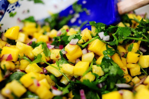 mango pineapple salsa!  But I added fresh garden tomatoes and we had it on top of our grilled pork tacos for dinner!