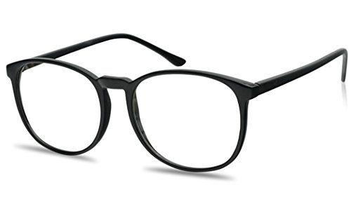 c83fa5df285 SunglassUP Large 55mm Nerdy Thin Plastic Non Prescription Clear Lens Fashion  Eye Glasses Single