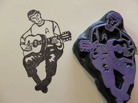 Spock playing the guitar! hand carved rubber stamp
