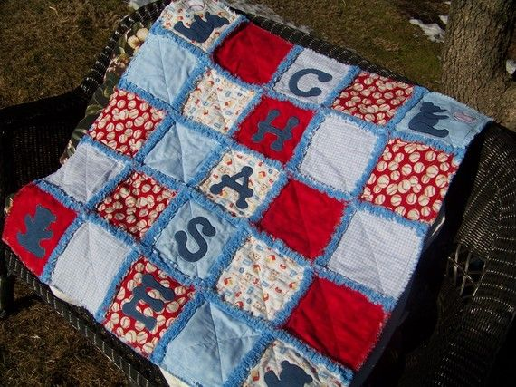 Little Boys Love Baseball Personalized Rag Quilt By