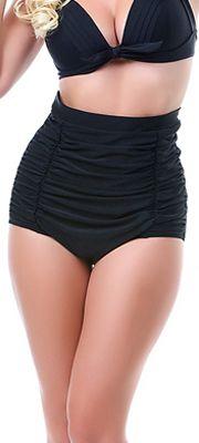 All Black Monroe High Waist Bikini Bottom #uniquevintage..I'd wear this 2 piece!